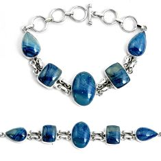45.96cts natural blue swedish slag 925 silver tennis bracelet jewelry p46034
