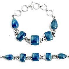 50.67cts natural blue swedish slag 925 silver tennis bracelet jewelry p46035
