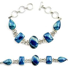 52.68cts natural blue swedish slag 925 sterling silver tennis bracelet p70766