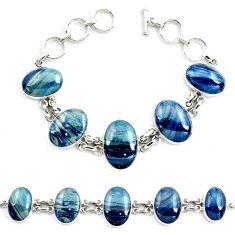 63.32cts natural blue swedish slag 925 sterling silver tennis bracelet p70767