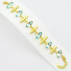 23.71cts natural blue topaz 925 sterling silver 14k gold tennis bracelet p75066