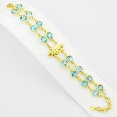 21.57cts natural blue topaz 925 sterling silver 14k gold tennis bracelet p75088