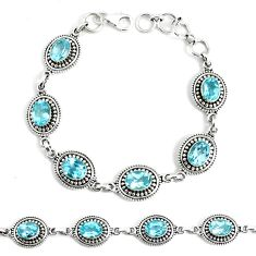12.83cts natural blue topaz 925 sterling silver tennis bracelet jewelry p34668