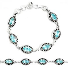 15.90cts natural blue topaz 925 sterling silver tennis bracelet jewelry p34676
