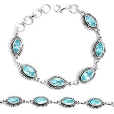 14.27cts natural blue topaz 925 sterling silver tennis bracelet jewelry p34677