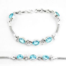 16.18cts natural blue topaz 925 sterling silver tennis bracelet jewelry p65062