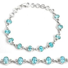 16.29cts natural blue topaz 925 sterling silver tennis bracelet jewelry p82586
