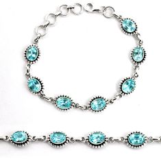 16.22cts natural blue topaz 925 sterling silver tennis bracelet jewelry p92998