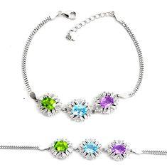 10.18cts natural blue topaz amethyst 925 sterling silver tennis bracelet c2306