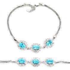 11.56cts natural blue topaz topaz 925 sterling silver tennis bracelet c2261