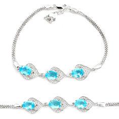 7.31cts natural blue topaz topaz 925 sterling silver tennis bracelet c2262