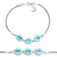 7.62cts natural blue topaz topaz 925 sterling silver tennis bracelet c2263