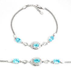 7.22cts natural blue topaz topaz 925 sterling silver tennis bracelet c2281