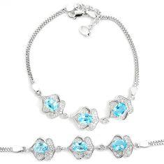8.98cts natural blue topaz topaz 925 sterling silver tennis bracelet c2283