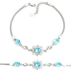 8.27cts natural blue topaz topaz 925 sterling silver tennis bracelet c2285