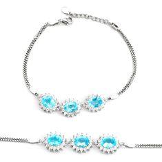 9.45cts natural blue topaz topaz 925 sterling silver tennis bracelet c2301