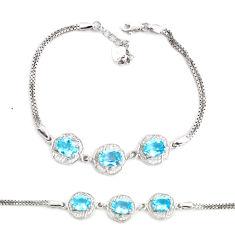 7.76cts natural blue topaz topaz 925 sterling silver tennis bracelet c2302