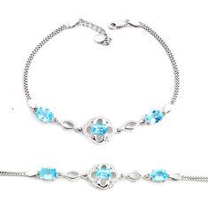 7.78cts natural blue topaz topaz 925 sterling silver tennis bracelet c2303