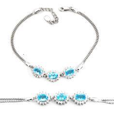 8.07cts natural blue topaz topaz 925 sterling silver tennis bracelet c2305