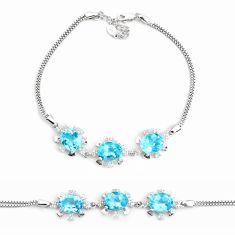 12.64cts natural blue topaz topaz 925 sterling silver tennis bracelet c2323