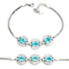 11.56cts natural blue topaz topaz 925 sterling silver tennis bracelet c2327