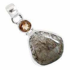 13.60cts natural brown agni manitite smoky topaz 925 silver bracelet p12984