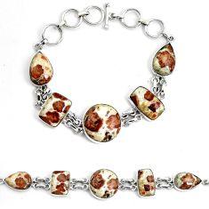 Natural brown garnet in limestone spessartine 925 silver tennis bracelet p46039