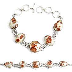 Natural brown garnet in limestone spessartine 925 silver tennis bracelet p48157