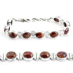 36.49cts natural brown pietersite (african) 925 silver tennis bracelet p40014