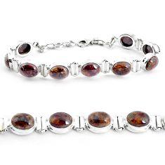 35.80cts natural brown pietersite (african) 925 silver tennis bracelet p40015