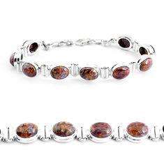 37.79cts natural brown pietersite (african) 925 silver tennis bracelet p40016