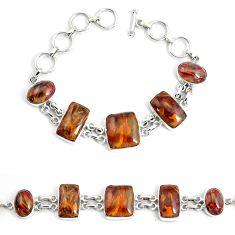 45.50cts natural brown pietersite (african) 925 silver tennis bracelet p46017