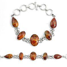 41.12cts natural brown pietersite (african) 925 silver tennis bracelet p46019