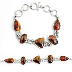 41.12cts natural brown pietersite (african) 925 silver tennis bracelet p46020