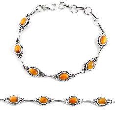 9.03cts natural brown tiger's eye 925 sterling silver tennis bracelet p65107