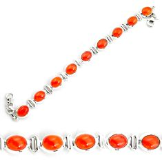 30.44cts natural cornelian (carnelian) 925 silver tennis bracelet jewelry p70670