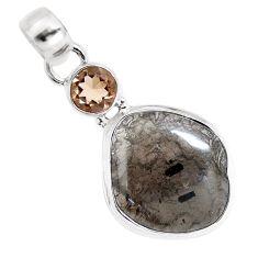 13.47cts natural golden agni manitite smoky topaz 925 silver bracelet p12985