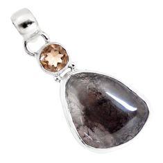 15.55cts natural golden agni manitite smoky topaz 925 silver bracelet p12986