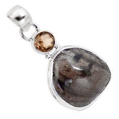 14.59cts natural golden agni manitite smoky topaz 925 silver bracelet p12987