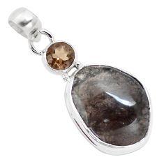 14.30cts natural golden agni manitite smoky topaz 925 silver bracelet p12998