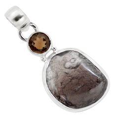 12.53cts natural golden agni manitite smoky topaz 925 silver bracelet p12999