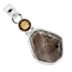 12.94cts natural golden agni manitite smoky topaz 925 silver bracelet p13000