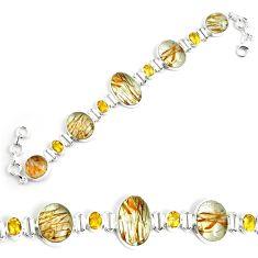 55.25cts natural golden rutile citrine 925 silver tennis bracelet p69701