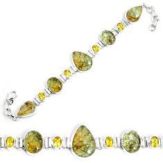 55.27cts natural golden rutile citrine 925 silver tennis bracelet p69703