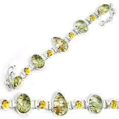 51.02cts natural golden rutile citrine 925 silver tennis bracelet p69705