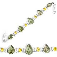 51.55cts natural golden rutile citrine 925 silver tennis bracelet p69709