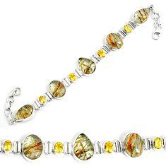 59.48cts natural golden rutile citrine 925 silver tennis bracelet p69710