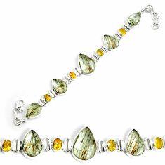 52.54cts natural golden rutile citrine 925 silver tennis bracelet p69711