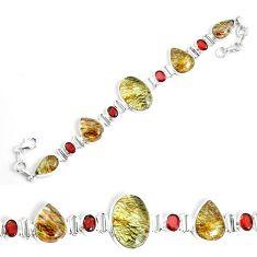 55.82cts natural golden rutile garnet 925 silver tennis bracelet p69707