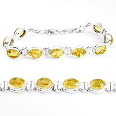 39.01cts natural golden tourmaline rutile 925 silver tennis bracelet p39046